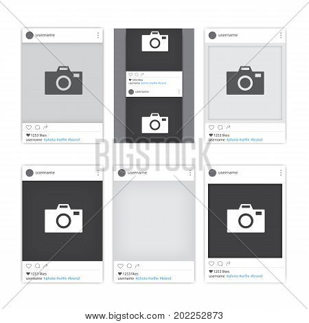Set of different social network photo frames. Tepmlates of photo frames for different apps and mobile gadgets. Vector illustration.