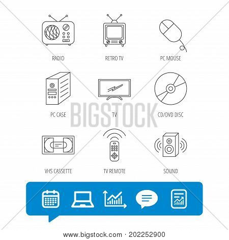 Retro TV, radio and DVD disc icons. PC mouse, VHS cassette and sound speaker linear signs. Report file, Graph chart and Chat speech bubble signs. Laptop and Calendar web icons. Vector