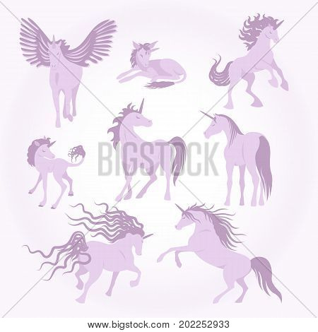 Vector unicorns image collection. Elements for design. Set of cute pink and lilac unicorns. Fairy magic elements, isolated vector objects, flat design illustration. Beautiful horses with horn