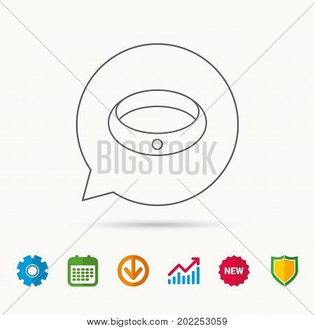 Diamond engagement ring icon. Jewelery sign. Calendar, Graph chart and Cogwheel signs. Download and Shield web icons. Vector