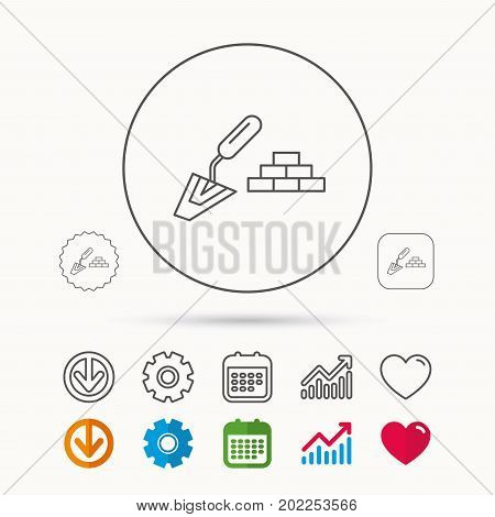 Finishing icon. Spatula with bricks sign. Calendar, Graph chart and Cogwheel signs. Download and Heart love linear web icons. Vector