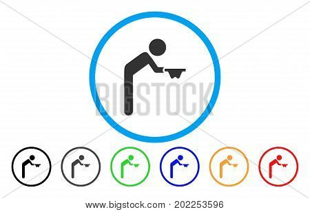 Child Beggar vector rounded icon. Image style is a flat gray icon symbol inside a blue circle. Bonus color variants are gray, black, blue, green, red, orange.