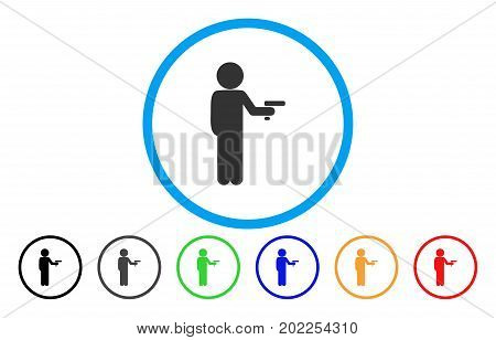 Child Robber vector rounded icon. Image style is a flat gray icon symbol inside a blue circle. Bonus color variants are gray, black, blue, green, red, orange.