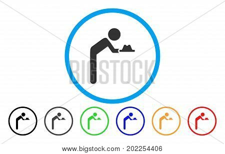 Child Servant vector rounded icon. Image style is a flat gray icon symbol inside a blue circle. Bonus color variants are grey, black, blue, green, red, orange.