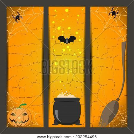 Set of Halloween bookmarks with broom witch boiler pumpkin spider bat on the gradient orange background.