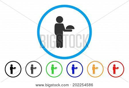 Child Waiter vector rounded icon. Image style is a flat gray icon symbol inside a blue circle. Bonus color variants are gray, black, blue, green, red, orange.