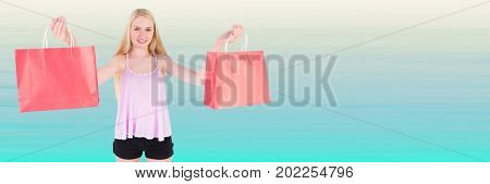 Digital composite of Shopper with red bags against blurry light blue background
