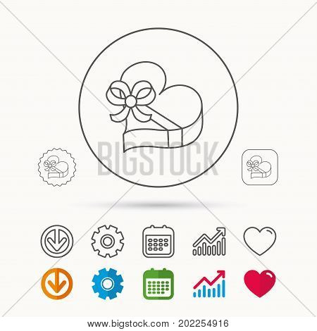 Love gift box icon. Heart with bow sign. Calendar, Graph chart and Cogwheel signs. Download and Heart love linear web icons. Vector