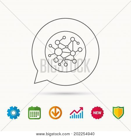 Global network icon. Social connections sign. Calendar, Graph chart and Cogwheel signs. Download and Shield web icons. Vector