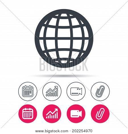 Globe icon. World or internet symbol. Statistics chart, calendar and video camera signs. Attachment clip web icons. Vector