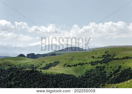 Elbrus Mountains And Meadow In Summer. Caucasus Russia