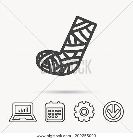 Gypsum or cast foot icon. Broken leg sign. Human recovery medicine symbol. Notebook, Calendar and Cogwheel signs. Download arrow web icon. Vector