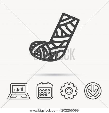Gypsum or cast foot icon. Broken leg sign. Human recovery medicine symbol. Notebook, Calendar and Cogwheel signs. Download arrow web icon. Vector