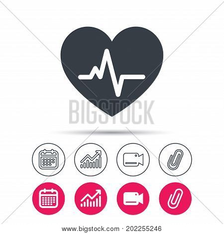 Heartbeat icon. Cardiology symbol. Medical pressure sign. Statistics chart, calendar and video camera signs. Attachment clip web icons. Vector