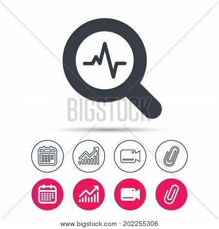 Heartbeat in magnifying glass icon. Cardiology symbol. Medical pressure sign. Statistics chart, calendar and video camera signs. Attachment clip web icons. Vector