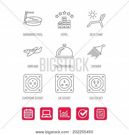 Hotel, swimming pool and beach deck chair icons. Reception bell, shower and airplane linear signs. European, UK and USA socket icons. Report document, Graph chart and Calendar signs. Vector