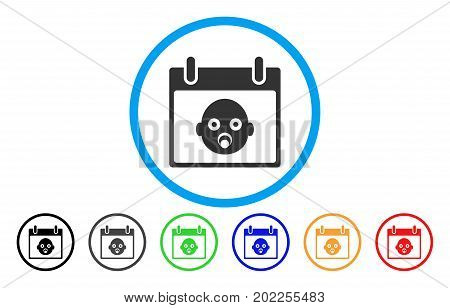 Baby Head Calendar Day vector rounded icon. Image style is a flat gray icon symbol inside a blue circle. Additional color variants are gray, black, blue, green, red, orange.