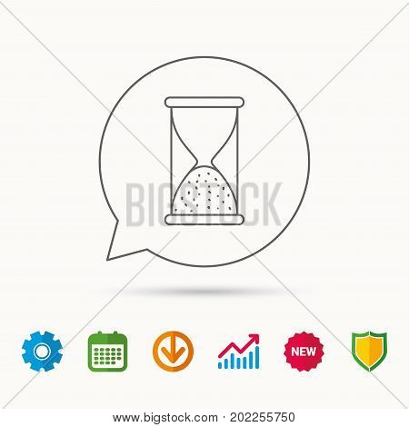 Hourglass icon. Sand end time sign. Hour ends symbol. Calendar, Graph chart and Cogwheel signs. Download and Shield web icons. Vector