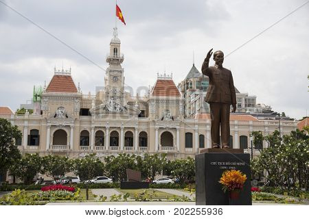 Ho Chi Minh City, Vietnam - March 27, 2017: Ho Chi Minh statue in front of City Hall, Saigon, Ho Chi Minh City, Vietnam