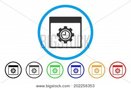 Clock Configuration Gear Calendar Page vector rounded icon. Image style is a flat gray icon symbol inside a blue circle. Bonus color versions are gray, black, blue, green, red, orange.