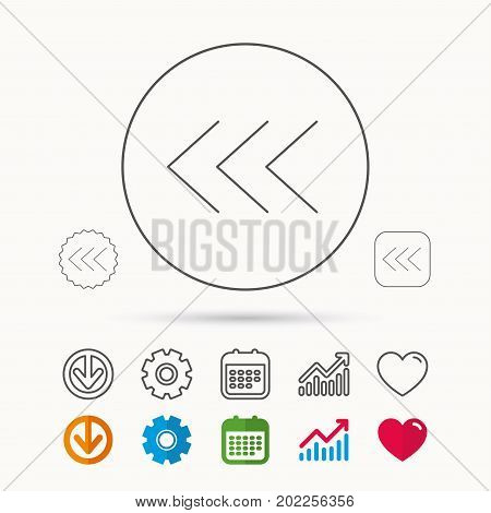Left arrow icon. Previous sign. Back direction symbol. Calendar, Graph chart and Cogwheel signs. Download and Heart love linear web icons. Vector