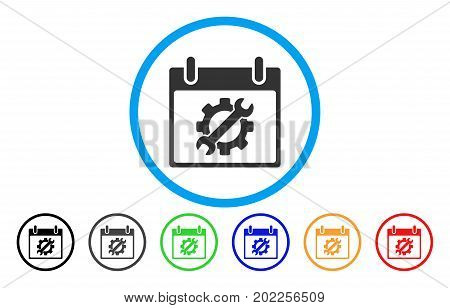 Configuration Tools Calendar Day vector rounded icon. Image style is a flat gray icon symbol inside a blue circle. Additional color variants are gray, black, blue, green, red, orange.
