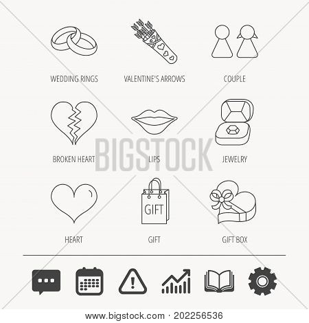 Love heart, kiss and wedding rings icons. Broken heart, couple and gift box linear signs. Valentine amour arrows flat line icons. Education book, Graph chart and Chat signs. Vector