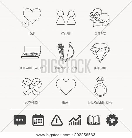 Love heart, brilliant and engagement ring icons. Bow, couple and gift box linear signs. Valentine amour arrows flat line icons. Education book, Graph chart and Chat signs. Vector