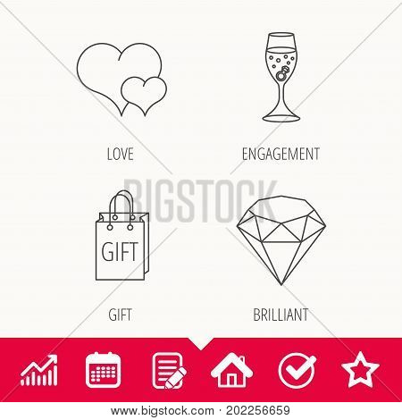 Love heart, gift box and wedding ring icons. Brilliant and engagement linear signs. Edit document, Calendar and Graph chart signs. Star, Check and House web icons. Vector