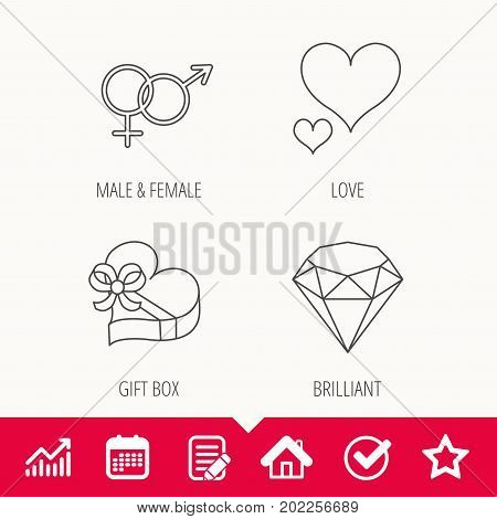 Love heart, gift box and brilliant icons. Male and female linear signs. Edit document, Calendar and Graph chart signs. Star, Check and House web icons. Vector