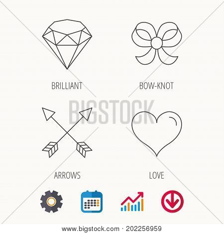 Love heart, brilliant and bow-knot icons. Arrows linear signs. Calendar, Graph chart and Cogwheel signs. Download colored web icon. Vector
