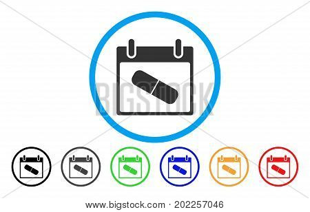 Drugs Pill Calendar Day vector rounded icon. Image style is a flat gray icon symbol inside a blue circle. Bonus color versions are grey, black, blue, green, red, orange.