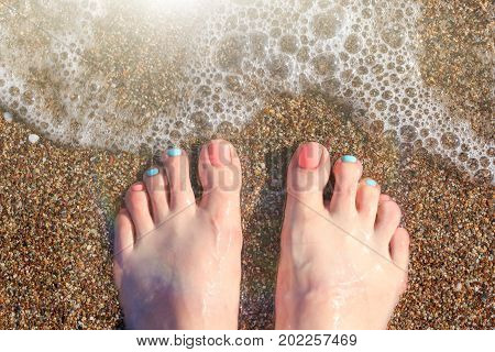 Barefooted female feet close-up on a shallow sea shingle at the water's edge