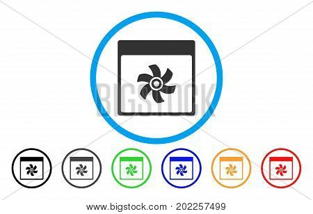 Fan Calendar Page vector rounded icon. Image style is a flat gray icon symbol inside a blue circle. Additional color versions are gray, black, blue, green, red, orange.