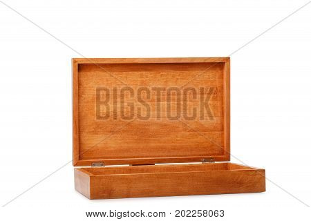 Close-up of a dark brown wooden box container isolated on a white background. An opened empty natural crate for storage. A rustic antique box for keeping small items. Cargo delivery and shipment.