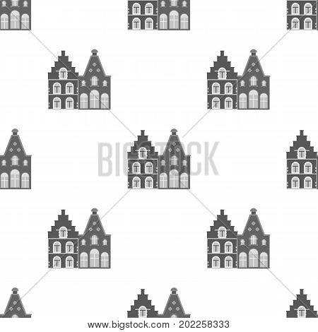 Housing in Belgium.The dark Belgian wolf. Belgium single icon in monochrome style vector symbol stock web illustration.
