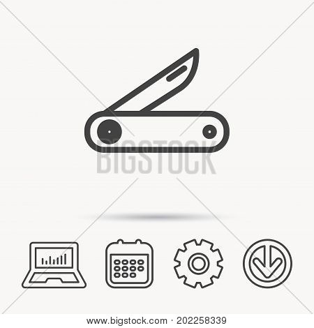 Multitool knife icon. Multifunction tool sign. Hiking equipment symbol. Notebook, Calendar and Cogwheel signs. Download arrow web icon. Vector