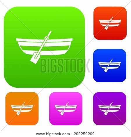 Fishing boat set icon in different colors isolated vector illustration. Premium collection