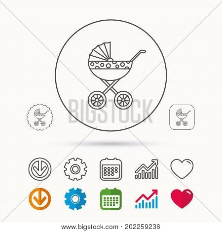 Pram icon. Newborn stroller sign. Child buggy transportation symbol. Calendar, Graph chart and Cogwheel signs. Download and Heart love linear web icons. Vector