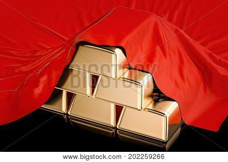 Gold ingots covered red cloth 3D rendering isolated on black background