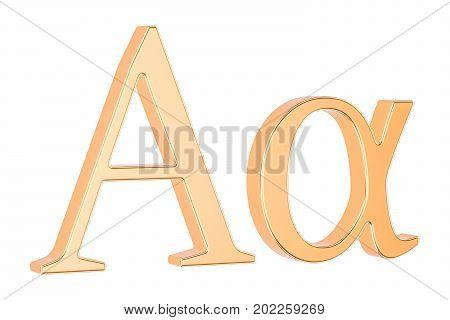 Golden Greek letter alpha 3D rendering isolated on white background