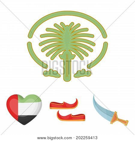 Eastern shoes, dagger, the heart of the emirates, Palm Jumeirah.Arab emirates set collection icons in cartoon style vector symbol stock illustration .