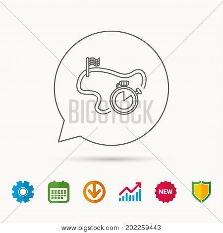 Race road icon. Finishing flag with timer sign. Calendar, Graph chart and Cogwheel signs. Download and Shield web icons. Vector