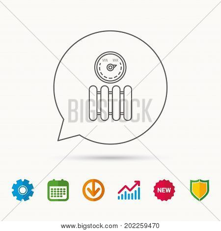 Radiator with regulator icon. Heater sign. Maximum temperature. Calendar, Graph chart and Cogwheel signs. Download and Shield web icons. Vector