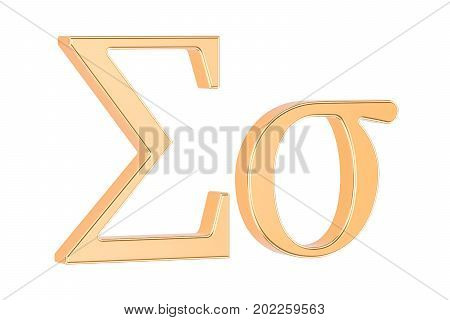 Golden Greek letter Sigma 3D rendering isolated on white background