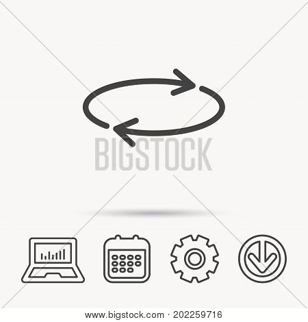 Repeat icon. Full rotation sign. Reload, refresh loop symbol. Notebook, Calendar and Cogwheel signs. Download arrow web icon. Vector