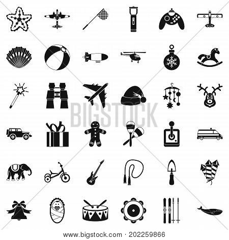 Toy icons set. Simple style of 36 toy vector icons for web isolated on white background