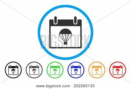 Parachute Calendar Day vector rounded icon. Image style is a flat gray icon symbol inside a blue circle. Additional color versions are gray, black, blue, green, red, orange.