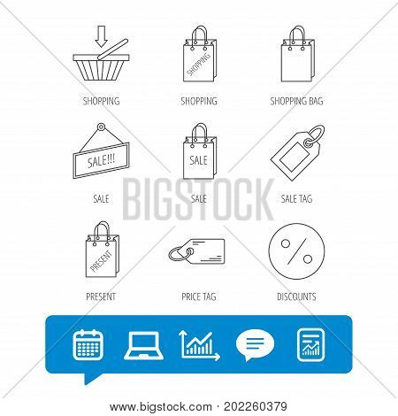 Shopping cart, gift bag and sale coupon icons. Special offer label linear signs. Discount icon. Report file, Graph chart and Chat speech bubble signs. Laptop and Calendar web icons. Vector