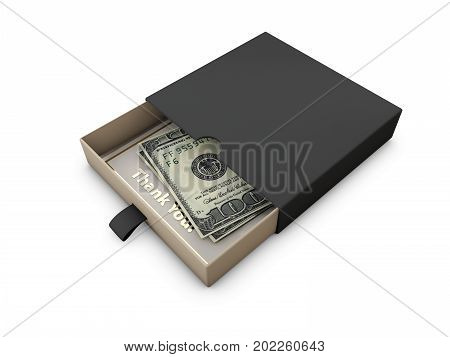 Donate money to charity concept. Donation box isolated white 3d illustration